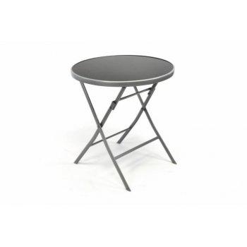 Zahradní bistro stolek skleněný se sklopnou deskou - stříbrný D35060