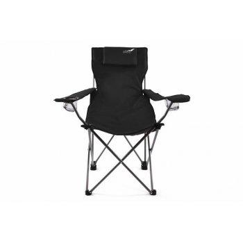 Skládací kempingová židle DIVERO s polštářkem - černá D35121