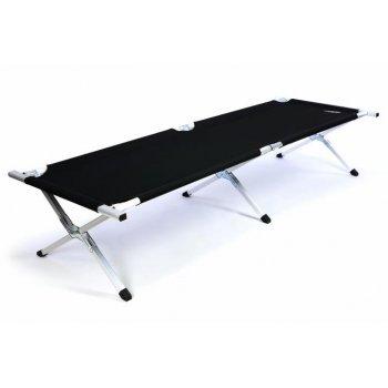 Přenosná hliníková skládací postel DIVERO 210 x 64 x 42 cm - černá D35119