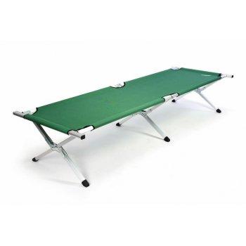 Přenosná hliníková skládací postel DIVERO 210 x 64 x 42 cm - zelená D35118