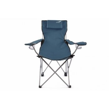 Skládací kempingová židle DIVERO s polštářkem - modrá D35105