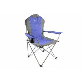 Skládací kempingová rybářská židle Divero Deluxe - modro/šedá D35087