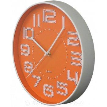 Nástěnné hodiny s reiléfem čísla COLOR 30,5 cm - ORANŽOVÁ AM35749
