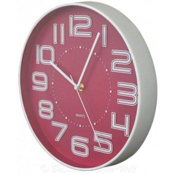 Nástěnné hodiny s reiléfem čísla COLOR 30,5 cm - RŮŽOVÉ AM35748