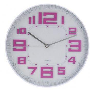 Nástěnné hodiny skleněné RELIÉF 30 cm - FIALOVÁ AM35646