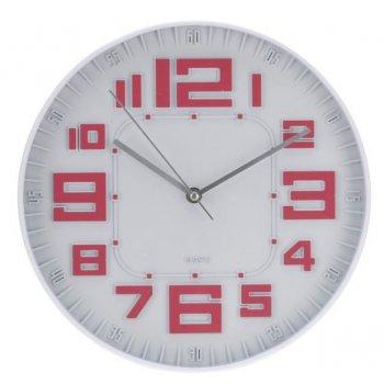 Nástěnné hodiny skleněné RELIÉF 30 cm - ČERVENÁ AM35645