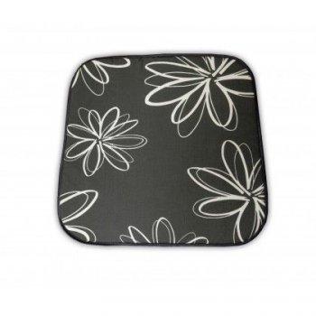 Sedák na křeslo SABA - šedý s květy