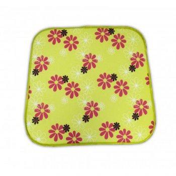Sedák na křeslo SABA - zelený s květy