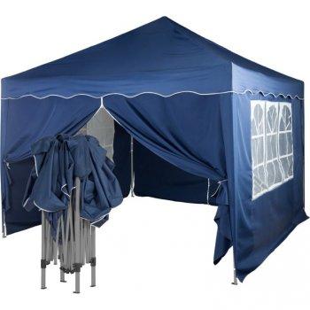 Zahradní párty stan nůžkový 3x3 m + 4 boční stěny - modrá M36867