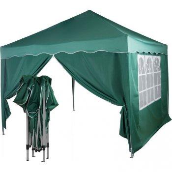 Zahradní párty stan nůžkový 3x3 m + 2 boční stěny - zelený M36862