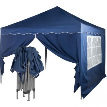 Zahradní párty stan nůžkový 3x3 m + 2 boční stěny - modrý M36861
