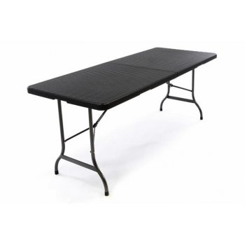 Polyratanový skládací zahradní stůl - černý 180 x 75 cm D37108