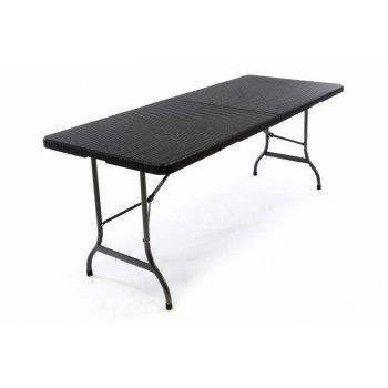 Polyratanový skládací zahradní stůl - černý 180 x 75 cm