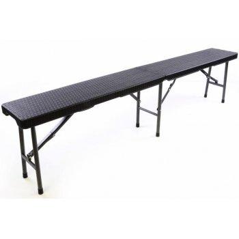 Skládacích zahradní lavice v ratanovém designu - 180 x 25 cm