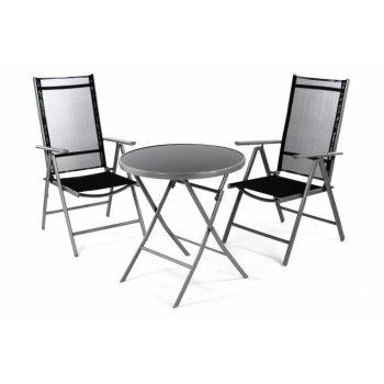 Zahradní balkónový set židle a stůl - černé D36492