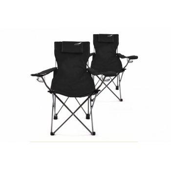 Kempingová sada 2 ks skládacích židlí DIVERO - černá D35956