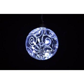 Vánoční dekorace - LED vánoční koule - studená bílá D05974