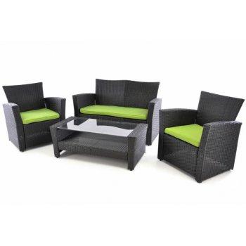Exkluzivní zahradní set z polyratanu - černá/zelená D38403
