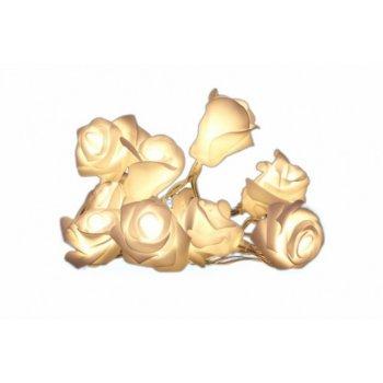Světelná dekorace - Řetěz s růžemi - 10 LED, teple bílé D29225