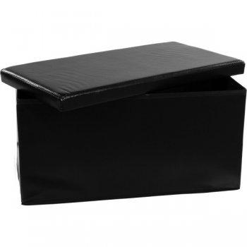 Skládací lavice s úložným prostorem - černá M06129