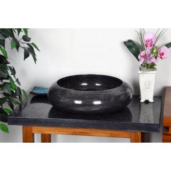 Kamenné umyvadlo - černý leštěný mramor DIVERO D06132