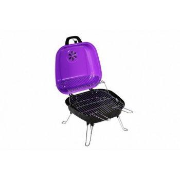 Kufříkový gril na dřevěné uhlí Gart, fialový D05936
