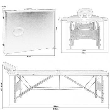 Přenosné masážní lehátko bílé MOVIT 184 x 70 cm