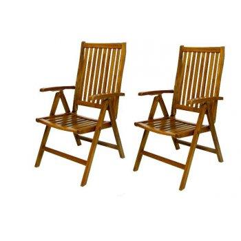 DIVERO skládací židle z akátového dřeva, 2 ks D02347