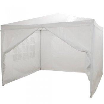 Zahradní párty stan - bílý 3 x 3 m + 4 boční díly M01551