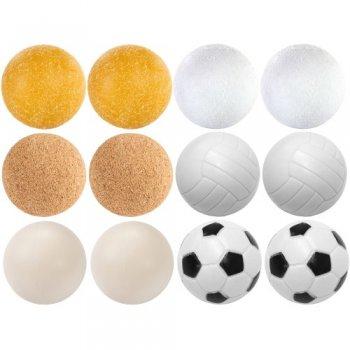 Exkluzivní sada 12 míčků ke stolnímu fotbálku - různé materiály, 35 mm M09546