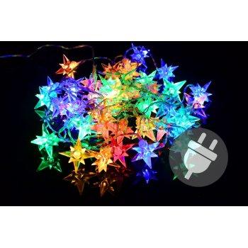 Vánoční LED osvětlení - barevné hvězdy - 40 LED D33456