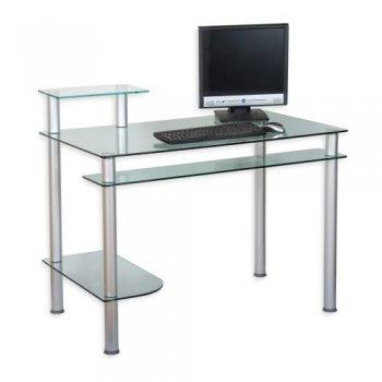 Skleněný kancelářský stůl na počítač KLASIK průhledný M01331