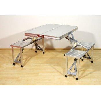 Skládací hliníkový stůl s vestavěnými lavicemi D00340
