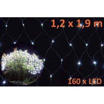 Vánoční osvětlení - LED světelná síť 1,2 x 1,9 m - studená bílá, 160 diod D05964