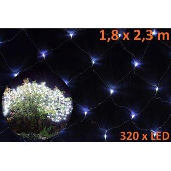 Vánoční LED světelná síť 1,8 x 2,3 m - studená bílá, 320 diod D00581
