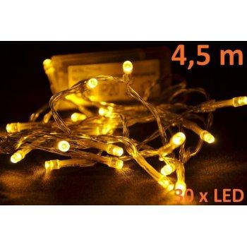 Vánoční LED osvětlení 4,5 m - teple bílé, 30 diod D01120
