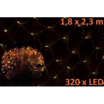 Vánoční LED světelná síť 1,8 x 2,3 m - teple bílá, 320 diod D00852