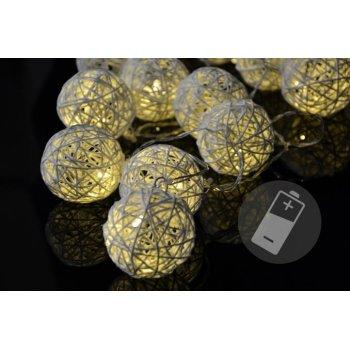 Vánoční LED osvětlení - ratanové koule - 20 LED