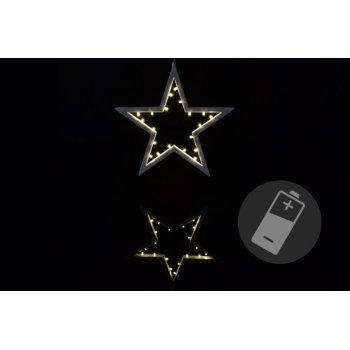 Vánoční dekorace - hvězda - 20 LED, teplá bílá D33221