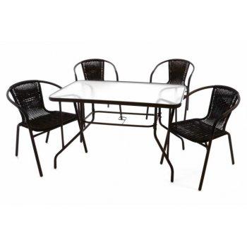 Zahradní polyratanový set - 4 židle a skleněný stůl D37023