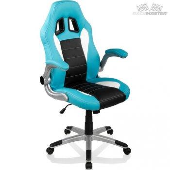 Otočná kancelářská židle GT-Racer - sv. modrá/černá/bílá M32310