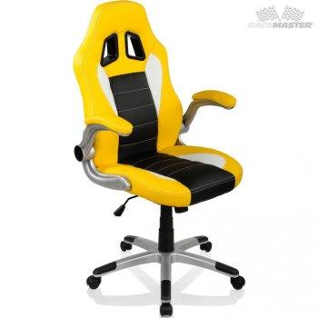 Otočná kancelářská židle GT-Racer - žlutá/černá/bílá M32311