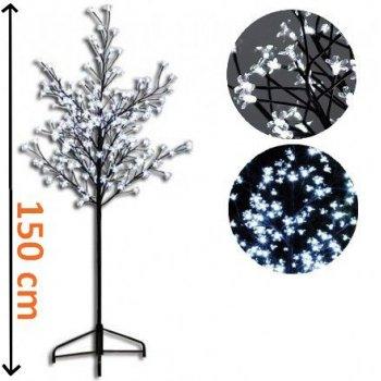 Dekorativní LED osvětlení - strom s květy 1,5 m - studená bílá