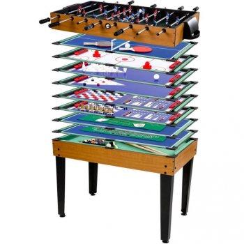 Multifunkční herní stůl 15 v 1 - hnědý M26501
