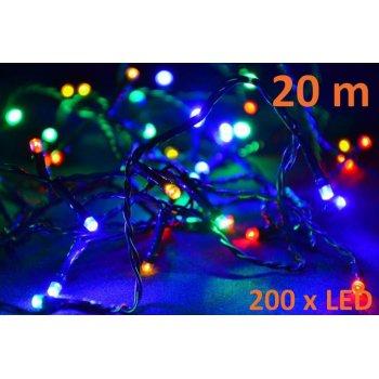 Vánoční LED řetěz - 20 m, 200 LED, barevný