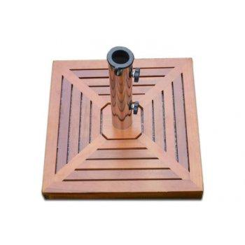 Stojan na slunečník (čtvercový) - žula /nerezová ocel/dřevěné obložení, 25 kg D00771