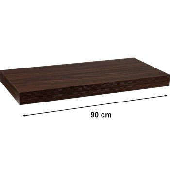 Nástěnná police STILISTA VOLATO - tmavé dřevo 90 cm
