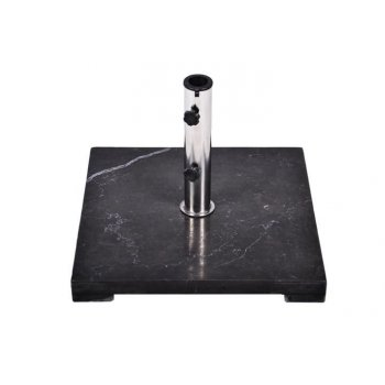 Stojan na slunečník Gardenay z černého mramoru a ušlechtilé oceli, čtvercový, 25 kg