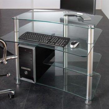Skleněný počítačový stůl ELEGANT s průhledným sklem
