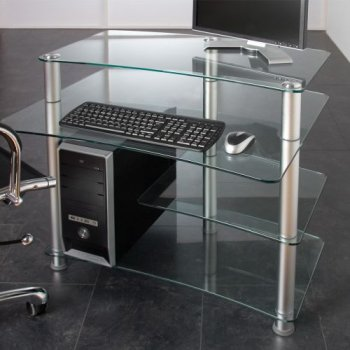 Skleněný počítačový stůl ELEGANT s průhledným sklem M01363